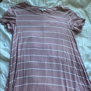 Pink striped tee shirt dress